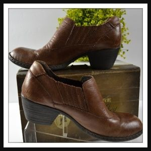 Brown leather ankle booties By BORN